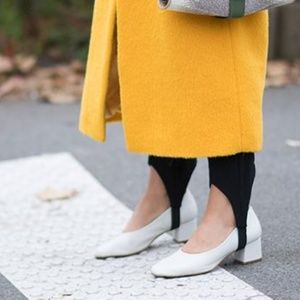 Zara Basic Leather Mid Heel White 10